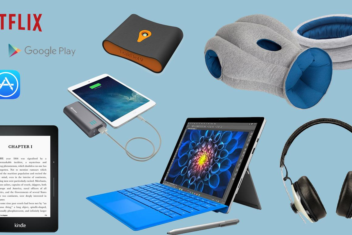 New Atlas' top giftpicks for travelers include mobile content, luggage trackers, portable chargers, high-tech travel pillows, noise-canceling headphones, e-readers and super-portable laptops