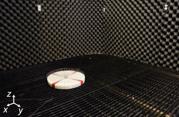 Researchers test the sensor in a sound-dampening room to eliminate echoes and unwanted background noise