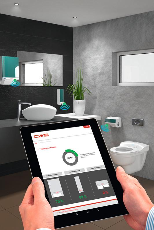 Alist of dispensers requiring attention could appear on a chief custodian's computer, on individual employees' tablets, or even on displays mounted on the wall beside each bathroom