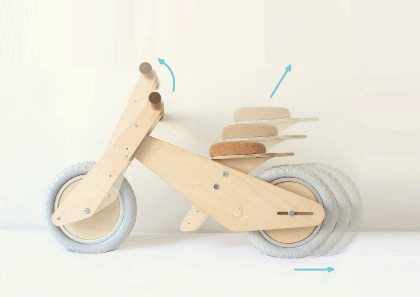 B'kid is designed in such a way that it is adaptable to the needs of a growing child, with an adjustable frame, and removable components