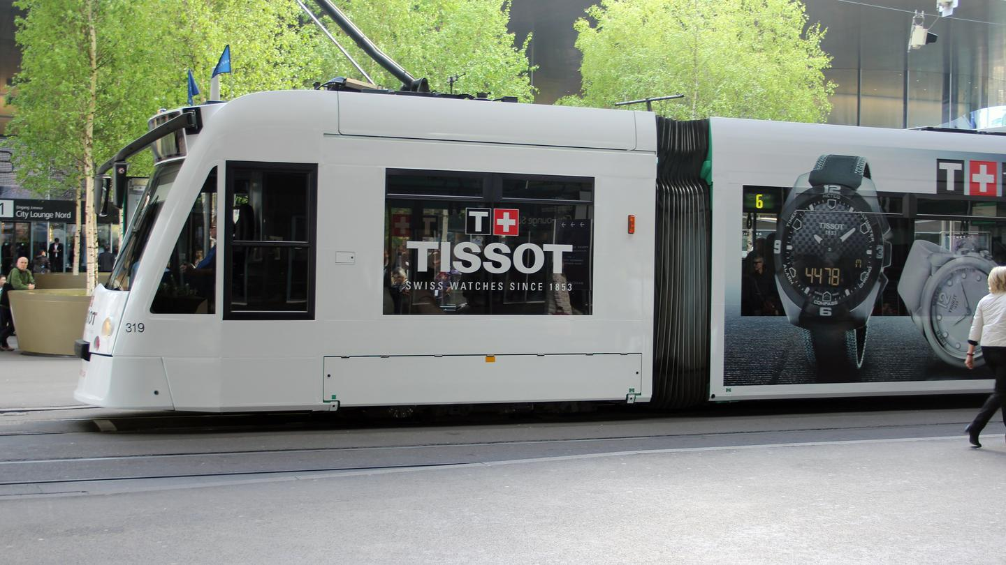 The ever-present trams were plastered with Baselworld-related adverts (Photo: Chris Wood/Gizmag.com)