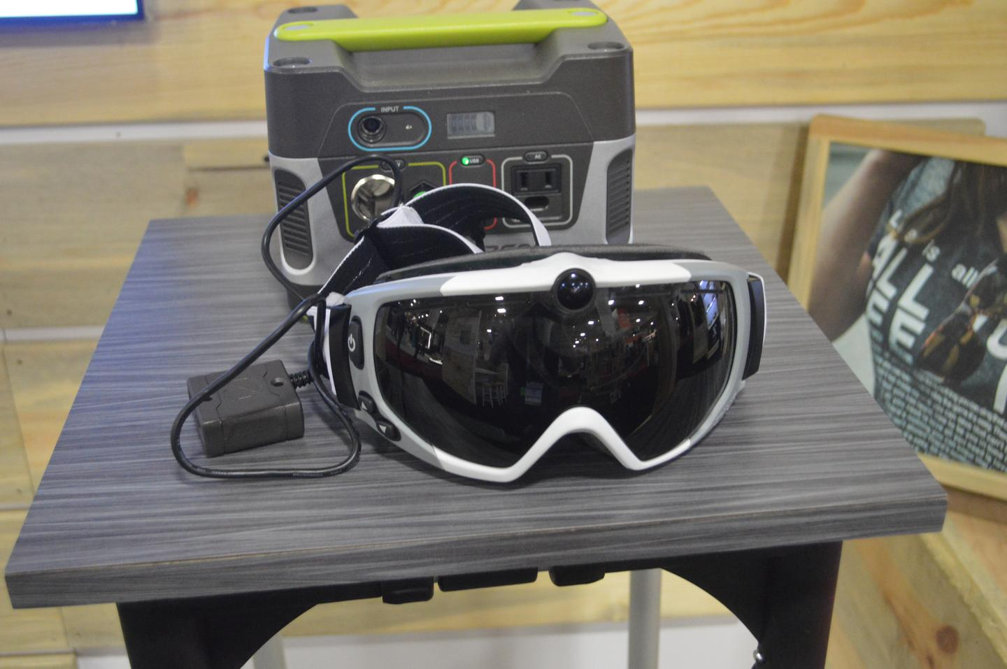 The Zeal HD2 goggles hooked up to a Goal Zero portable power unit