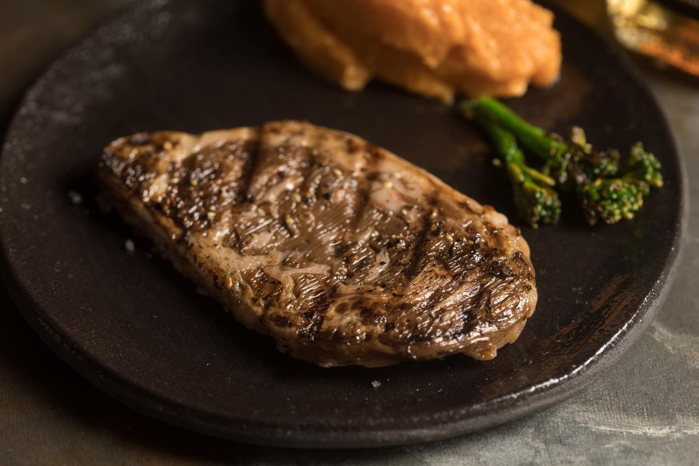 This rib-eye steak was produced using a new 3D bioprinting technology
