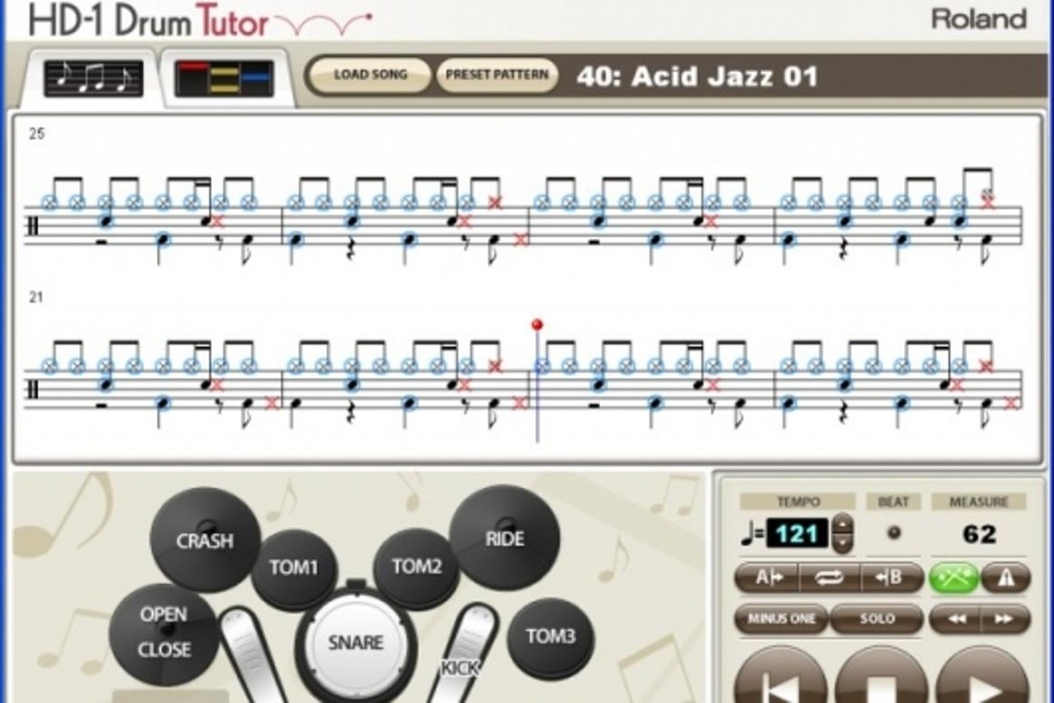 Roland's DT-HD1 drum tutorial software will teach you to