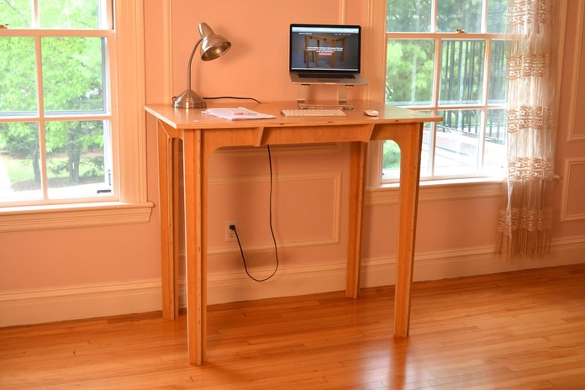The Press Fit Desk aims to be an affordable, portable standing desk