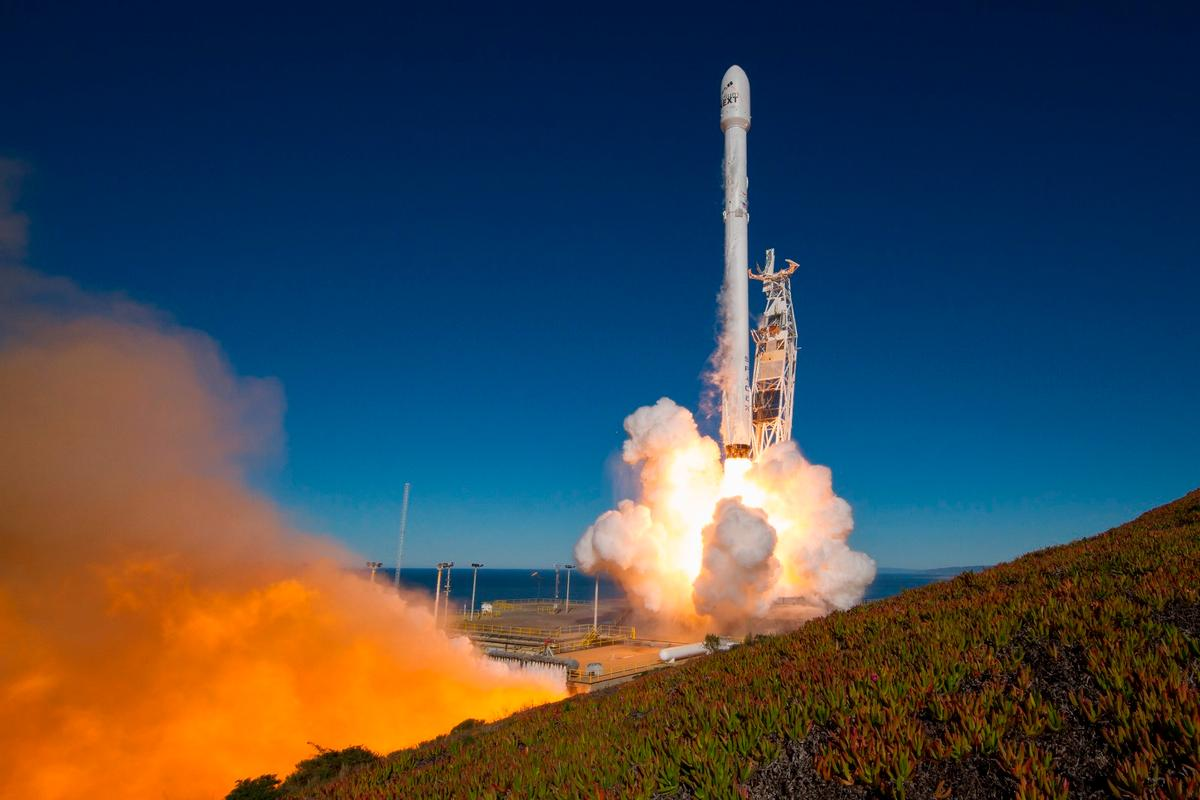 The Falcon 9 rocket takes off from Vandenberg Air Force Base, California
