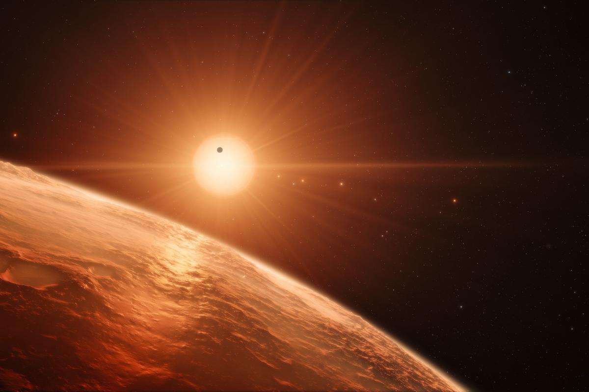 Artists's impression of the TRAPPIST-1 solar system. TRAPPIST-1 now holds the record for the solar system with the most orbiting Earth-sized exoplanets