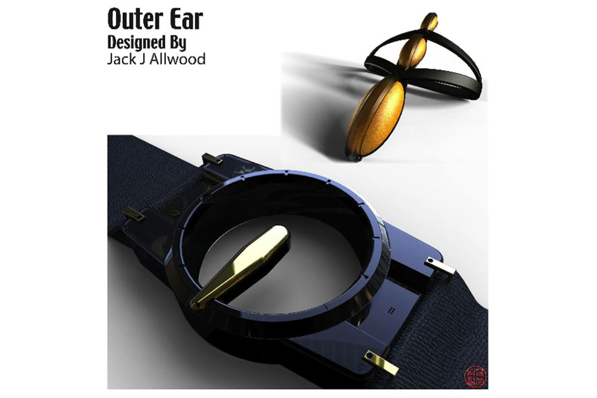 The wrist-mounted Outer Ear detects sound-waves via a wrist-strap and converts it into low, medium or high vibrations
