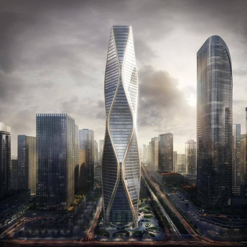 The Hangzhou Wangchao Center will reach a total height of 280 m (919 ft)