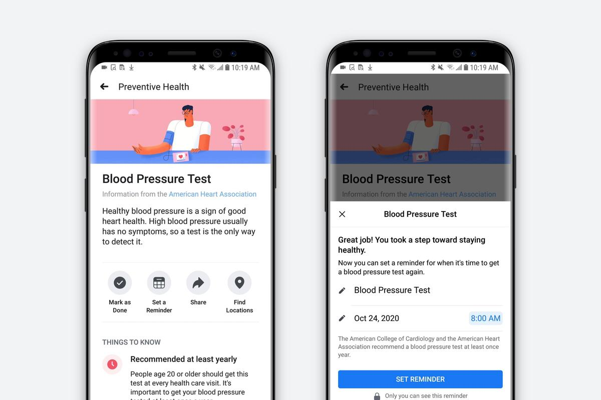 Facebook's new tool is designed to remind users when certain health checkups are due based on their age and sex