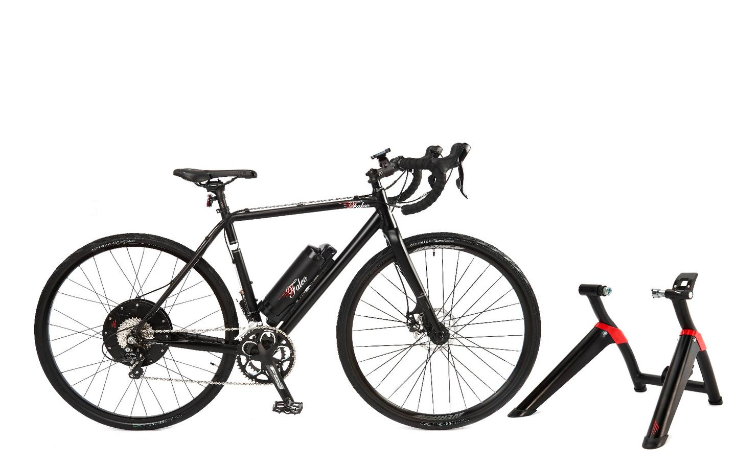 The Falco eDrive combines an electrifiedwheel with an indoor trainer stand for a comprehensive indoor/outdoor workout