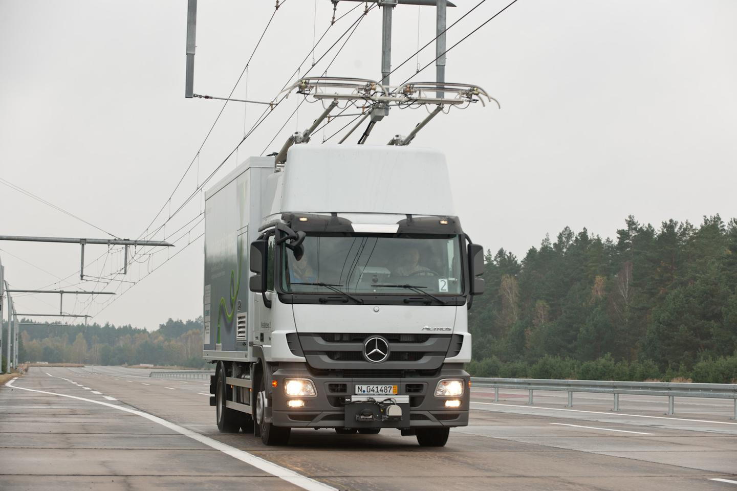 Siemens is currently testing its eHighway of the Future concept in Germany - where commercial vehicles retro-fitted with a diesel/electric power train receive electric power from overhead cables via a new pantograph system