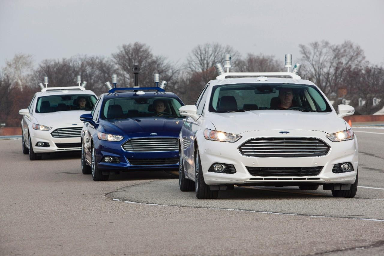 Assisted or self-parking is the logical first step towards commercialization of self-driving and fully autonomous vehicles like this prototype train of Ford Focus sedans
