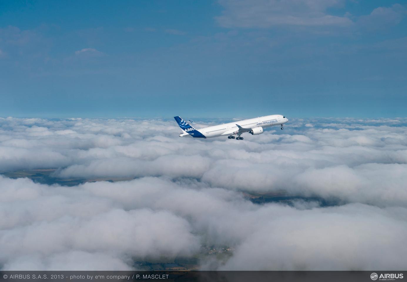 he Airbus A350 XWB in the skies over southwestern France
