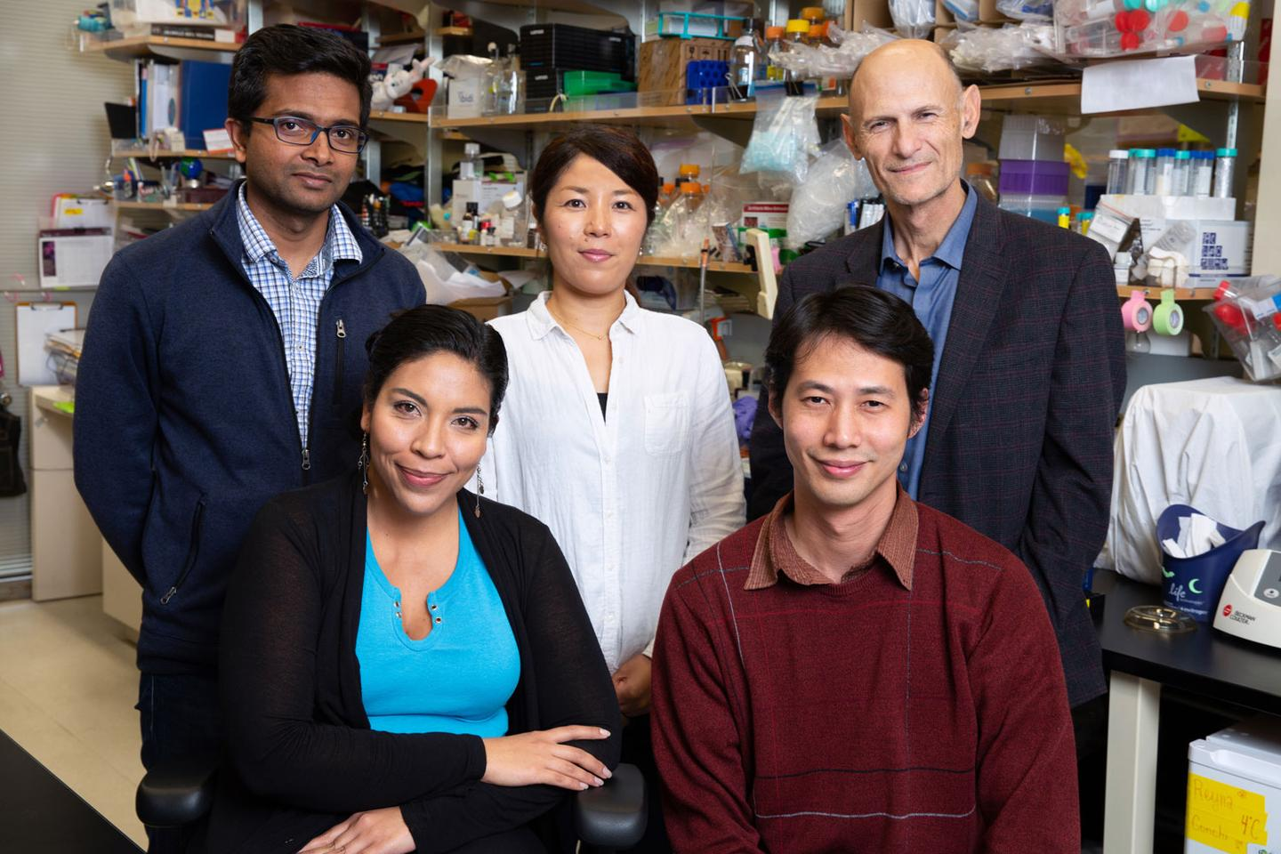 Pradeep Reddy (front left) was a member of a research team at the Salk Institute that has developed a promising anti-aging technology using the CRISPR gene-editing tool