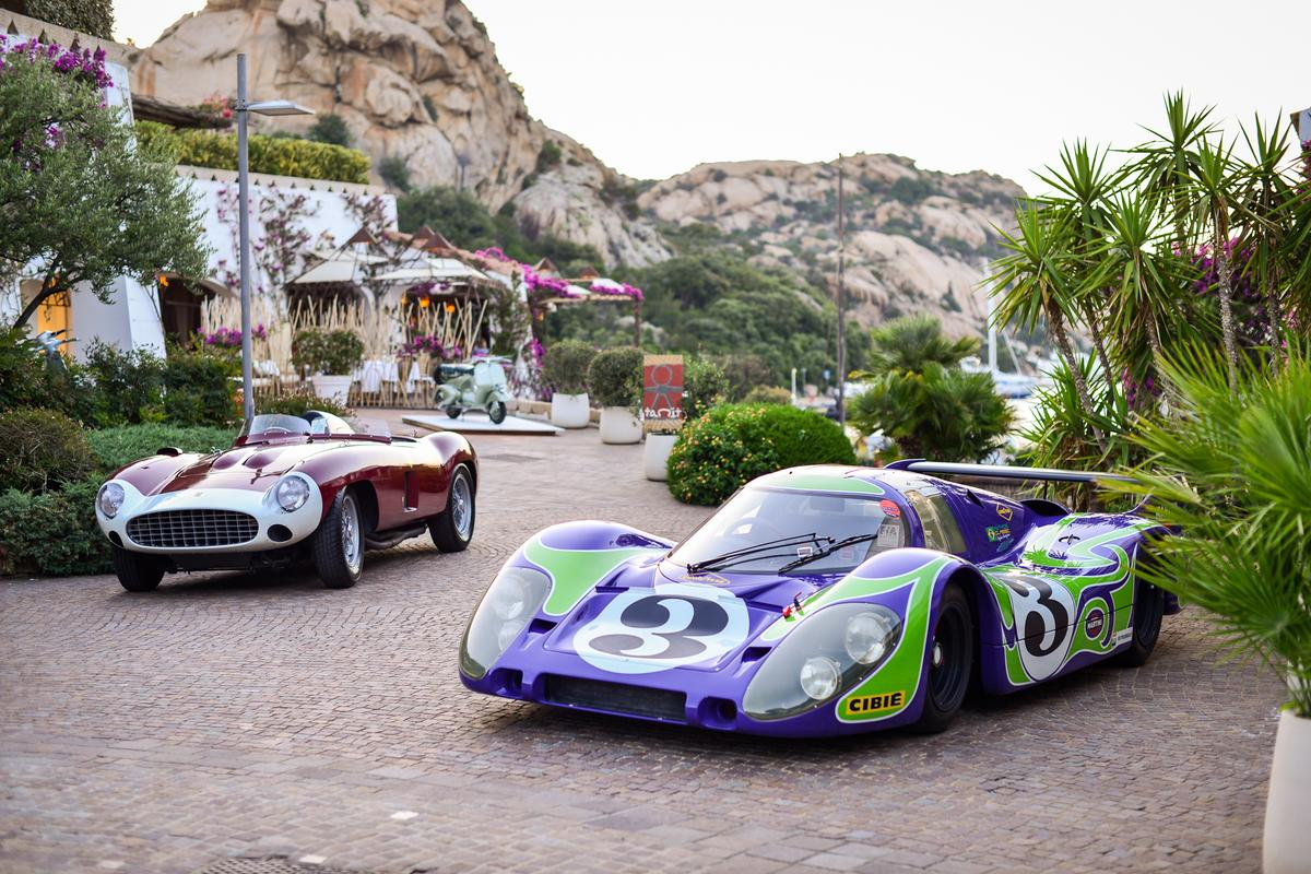 "The finalists in the ""Best of Show"" at the Poltu Quatu Classic Concours d'Elegance held last weekend (10, 11 and 12 July, 2020). On the left is a one-of-four 1955 Ferrari 857S and on the right is the Simeone Automotive Museum's Porsche 917 Langhek, a car that was timed at 386 km/h on the Mulsanne Straight at Le Mans."