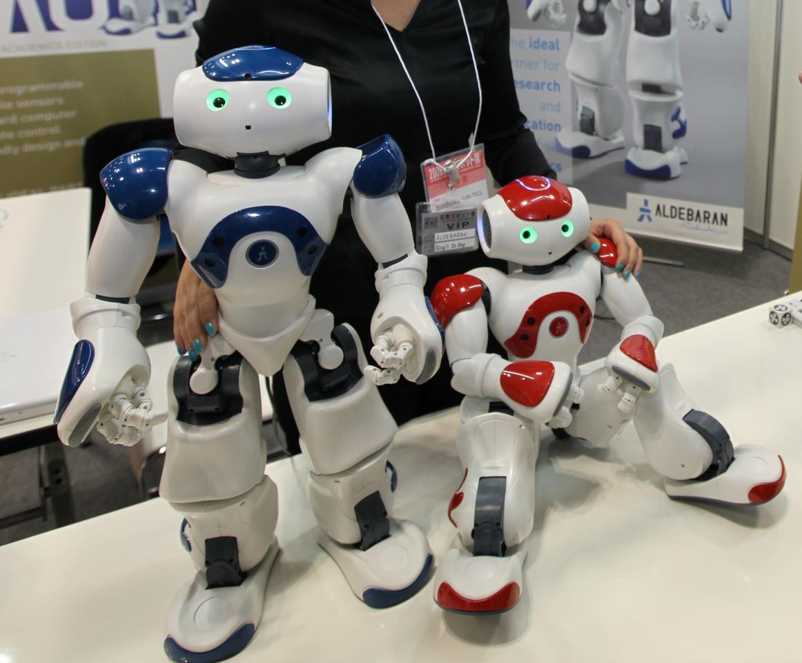 Nao - he sees, can find a ball, recognize different touches and communicate via Wi-Fi