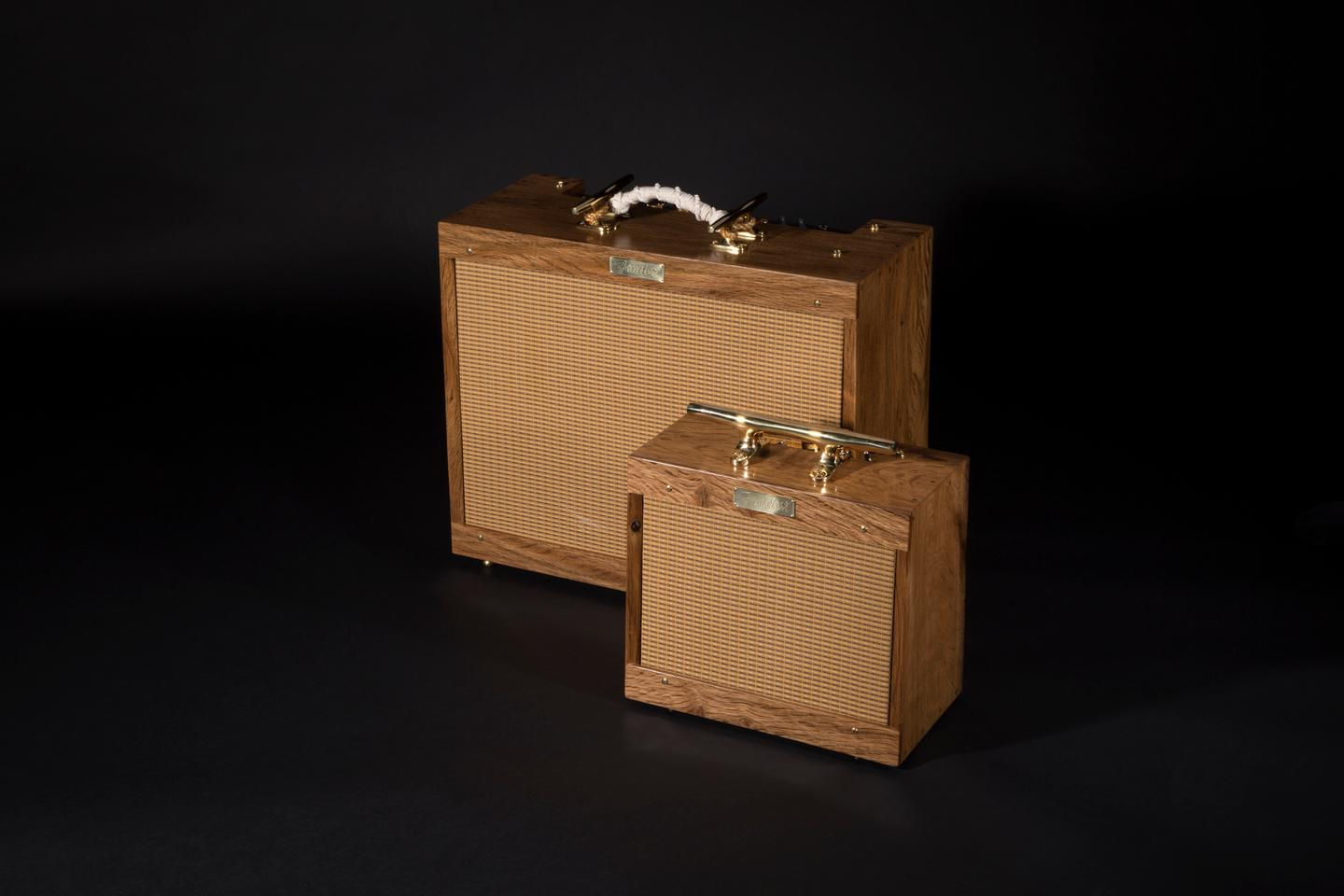 The cabinets of the Old Ironsides tube amps are made from centuries-old wood from Navy stockpiles