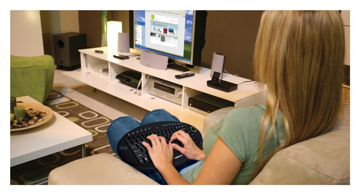 IOGEAR's on-lap wireless keyboard is for interacting with your games console, HTPC or laptop via a HDTV while on the couch