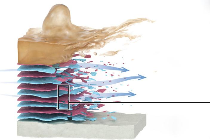 Applied to a reverse osmosis membrane (gray), the multi-layer coating can periodically be removed, carrying the accumulated biofilm (brown) along with it