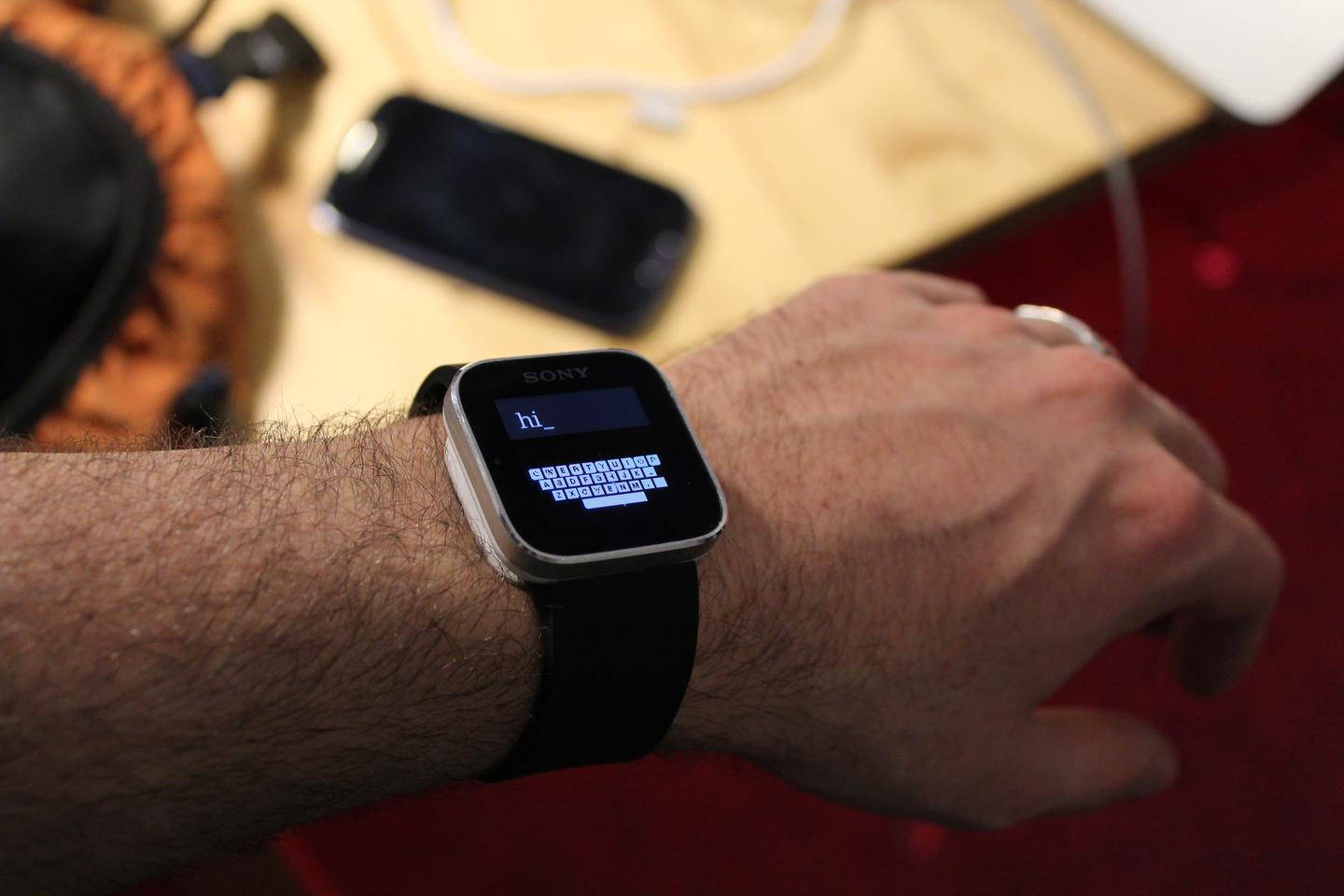 The ZoomBoard system allows smartwatch users to type on their devices' tiny screens