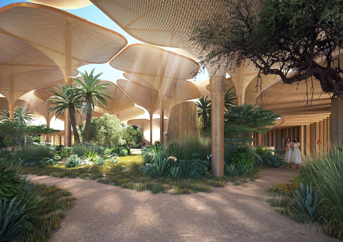 Southern Dunes에는 타는듯한 사막의 그늘을 제공하는 큰 버섯 모양의 목재 구조물이 포함될 것입니다.
