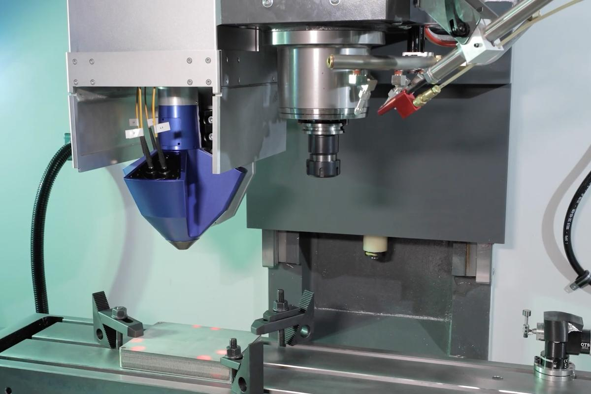 Mounted to an existing CNC milling machine, the Meltio Engine can add or remove metal in five-axis precision, creating full-density finished production parts, or augmenting or repairing existing parts
