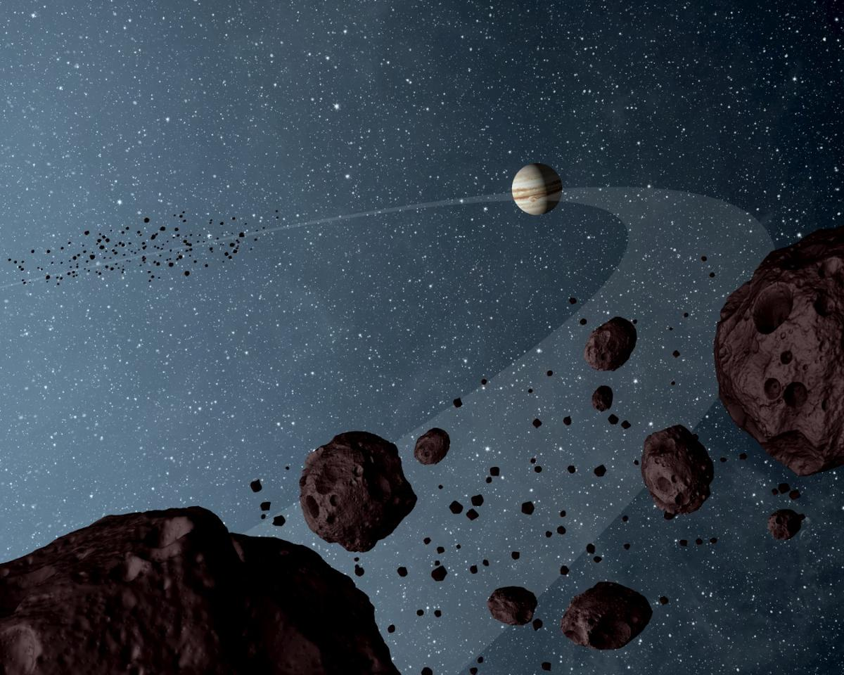 The clues for the new formation theory came from simulations of the Trojan asteroids, two groups of space rocks that orbit the Sun along the same path as Jupiter – one group in front and one behind the planet