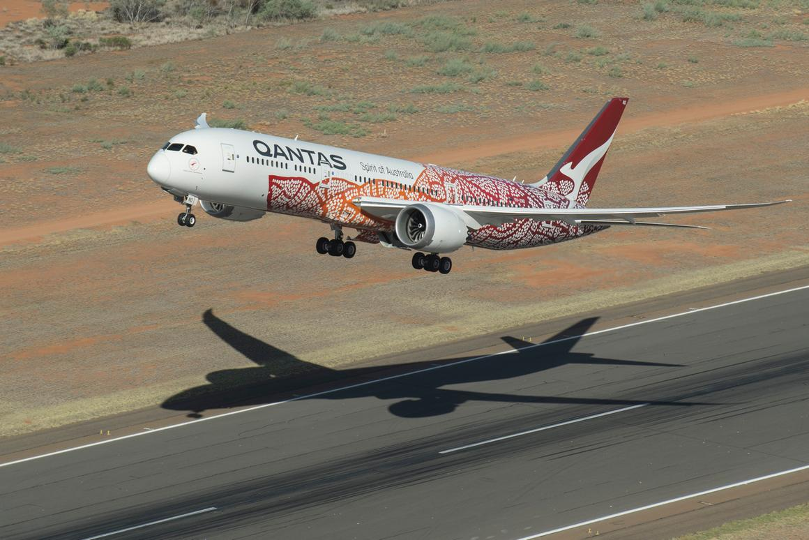 The Boeing 787-9 lifts off from Perth Airport en route for London