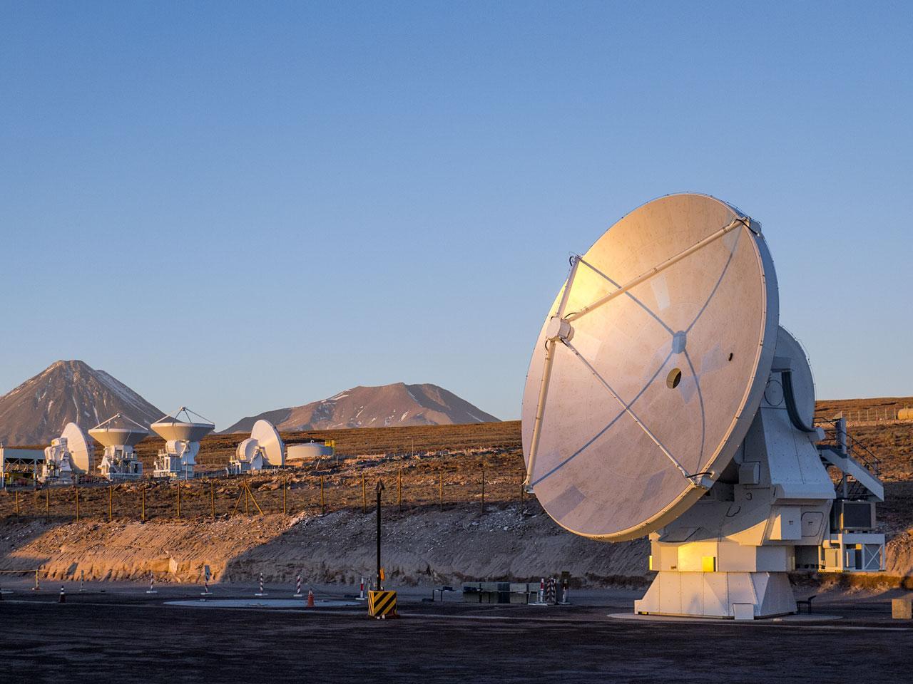 The array consists of 66 antennas spread across a 16 kilometer area (Image: ESO)