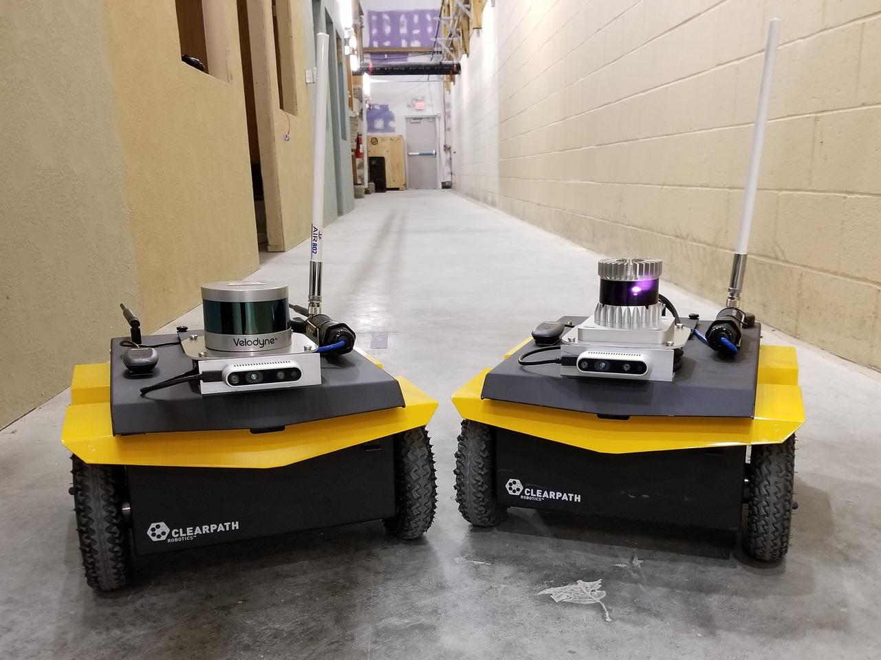 Two of the robots used in the study