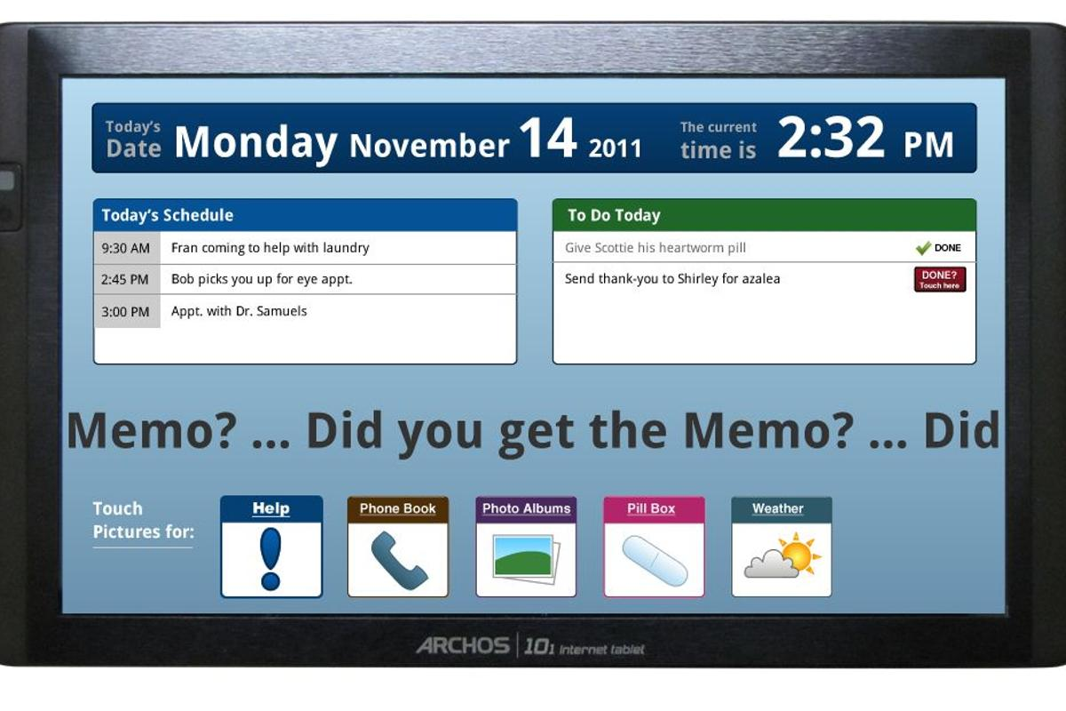Memo Touch tablet comes with software that provides memory-challenged aging users with virtual assistance to help them deal with everyday activities