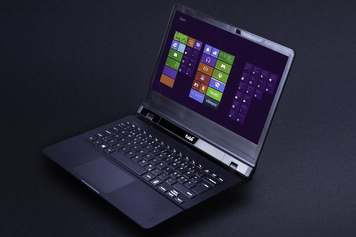 Tobii's latest prototype laptop with integrated eye tracking technology and Synaptics ForcePad