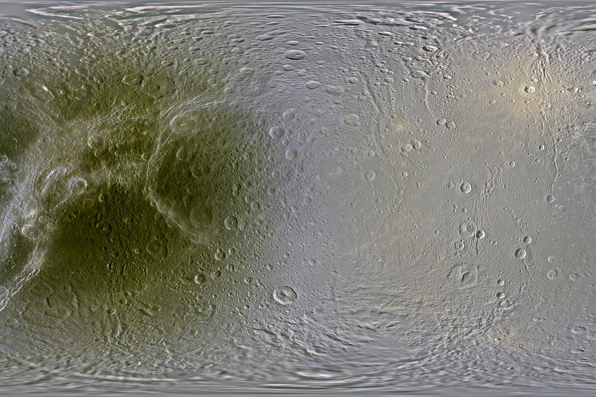 Dione as mapped by the Cassini spacecraft (Image: NASA/JPL/SSI/LPI)