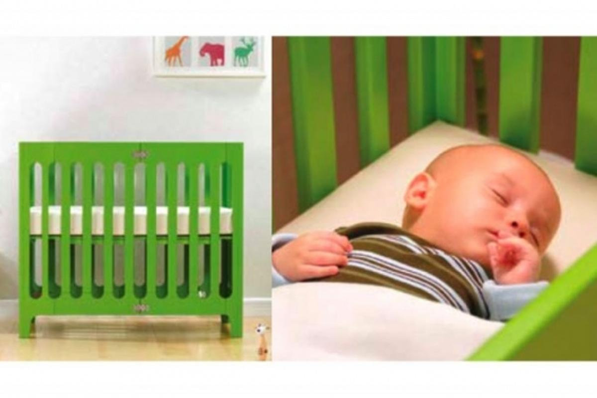 Bloom's Alma crib sleeps baby from birth to two years and folds away for easy storage