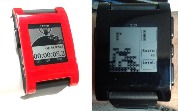 A stopwatch design and Tetris-like game (Pebblis) developed using Pebble's recently released SDK (Photo: Michael Regan)