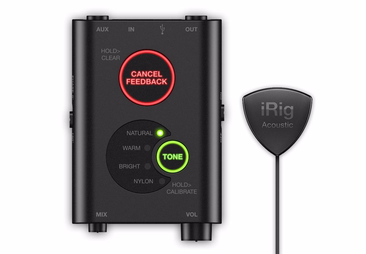 The iRig Acoustic Stage package comprises a pick-shaped MEMS microphone and a battery-powered box rocking a preamp and digital signal processing