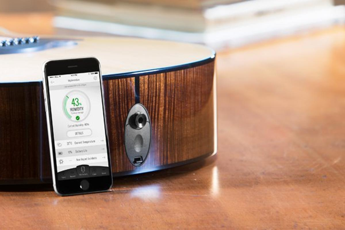 The TaylorSense smart battery box helps keep track on an acoustic guitar's health