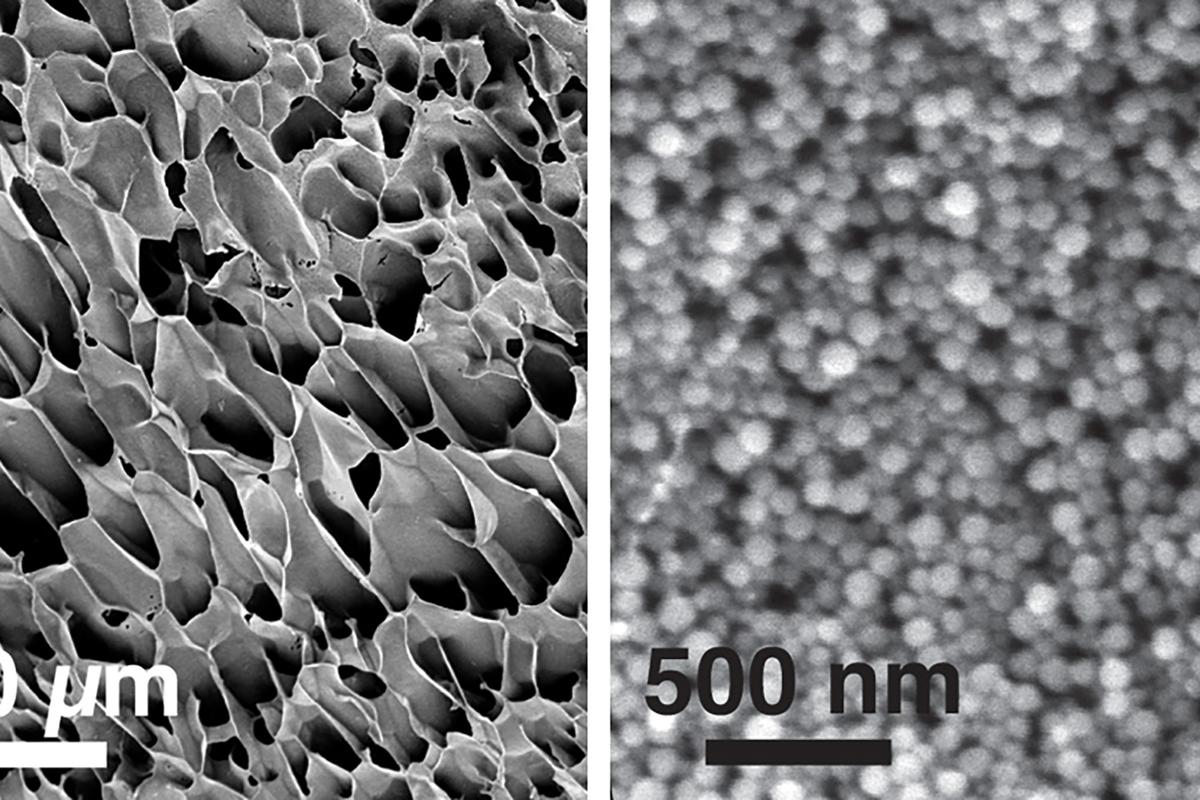 The new hydrogel type can be seen in these electron microscopy images, which show the nanogel and polymer structure at different magnifications (Image: MIT)