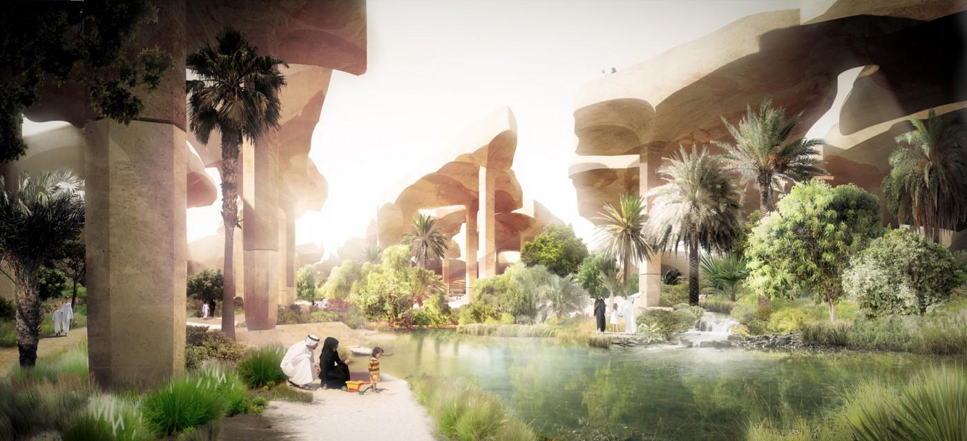 "Thomas Heatherwick has designed a ""sunken oasis"" public park for Abu Dhabi (image: Heatherwick Studio)"