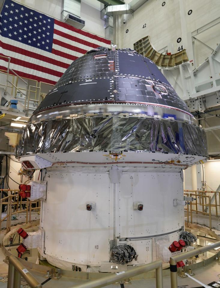 The Orion spacecraft in the Neil Armstrong Operations and Checkout Building at the Kennedy Space Center,Florida