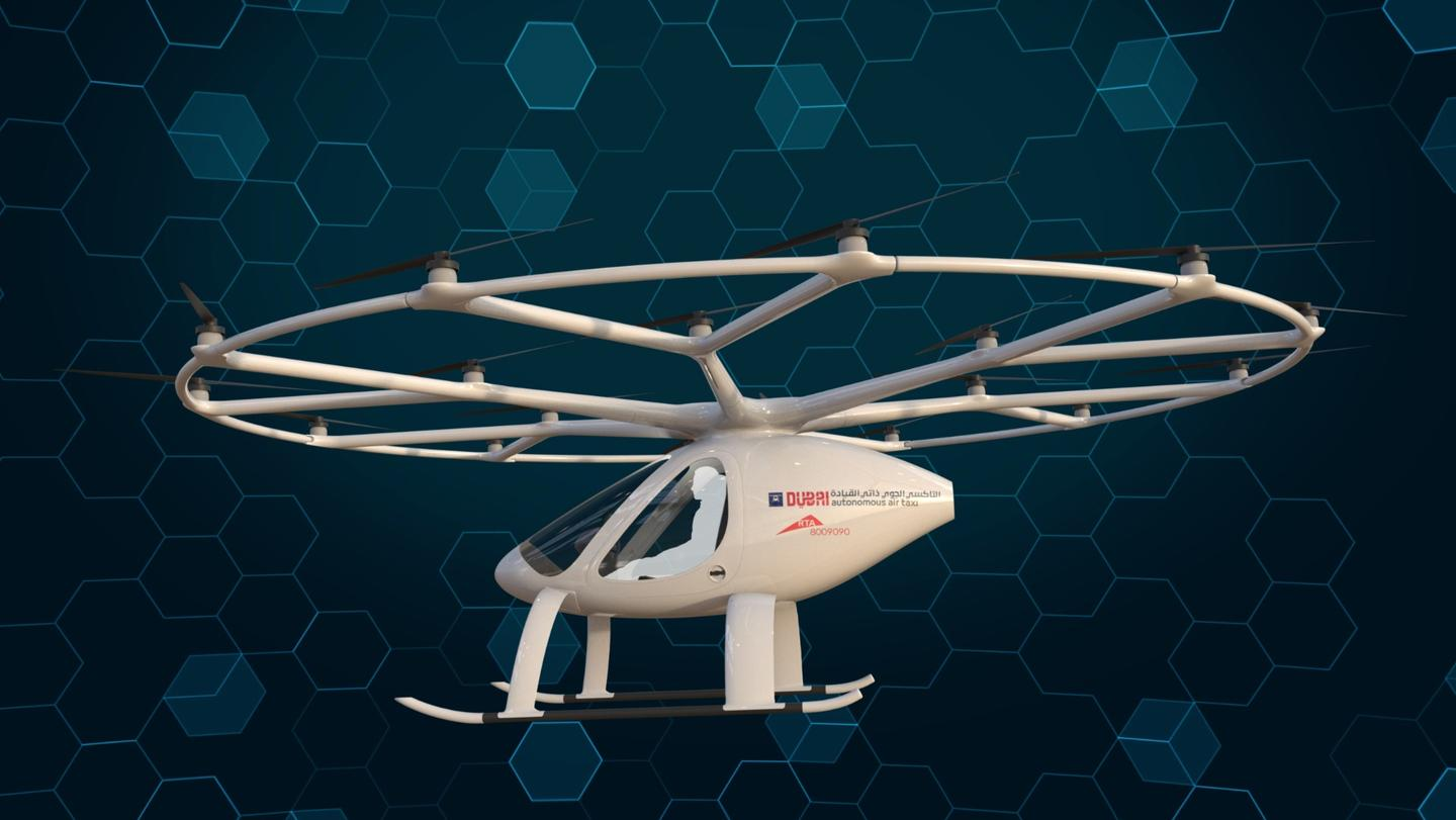 The Volocopter is powered by nine swappable batteries