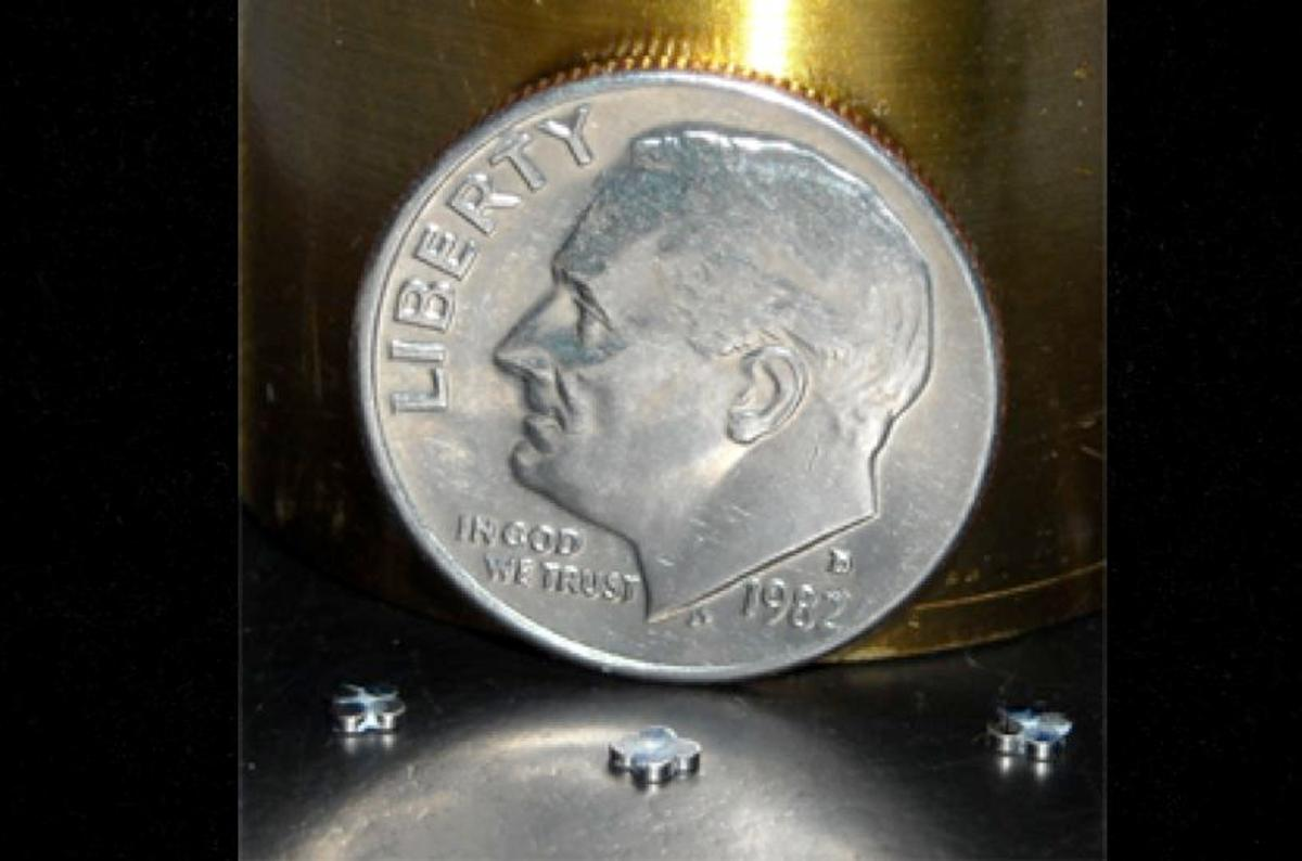 Magnetically levitated micro robots are simple to scale down and could potentially be combined into complex robotic systems (Photo: SRI International)