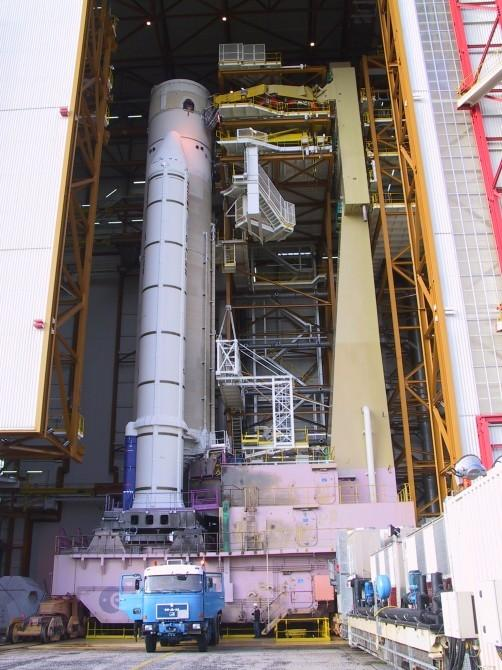 The space sail for an Ariane 5 launcher (pictured), for example, would is conical with a surface area of about 350 sqm and supported by an inflatable 12-meter mastPicture courtesy of EADS Astrium