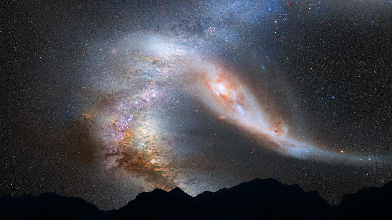 An artist's imagining of the night sky from Earth as the Milky Way collides with neighboring galaxy Andromeda – a new study shows that the Large Magellanic Cloud will also smash into the Milky Way much sooner