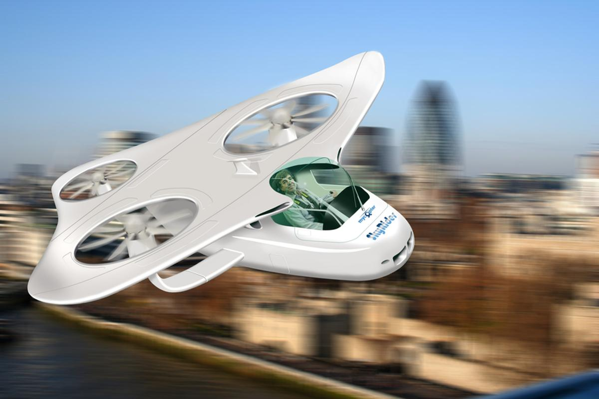 An envisioned Personal Aerial Vehicle illustrates what our city skies could soon look like (Image by Gareth Padfield, Flight Stability and Control)