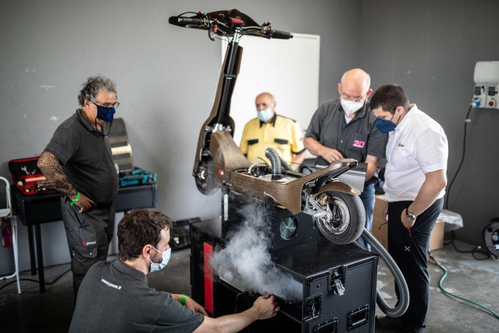 The S1-X eSkooter undergoes indoor testing