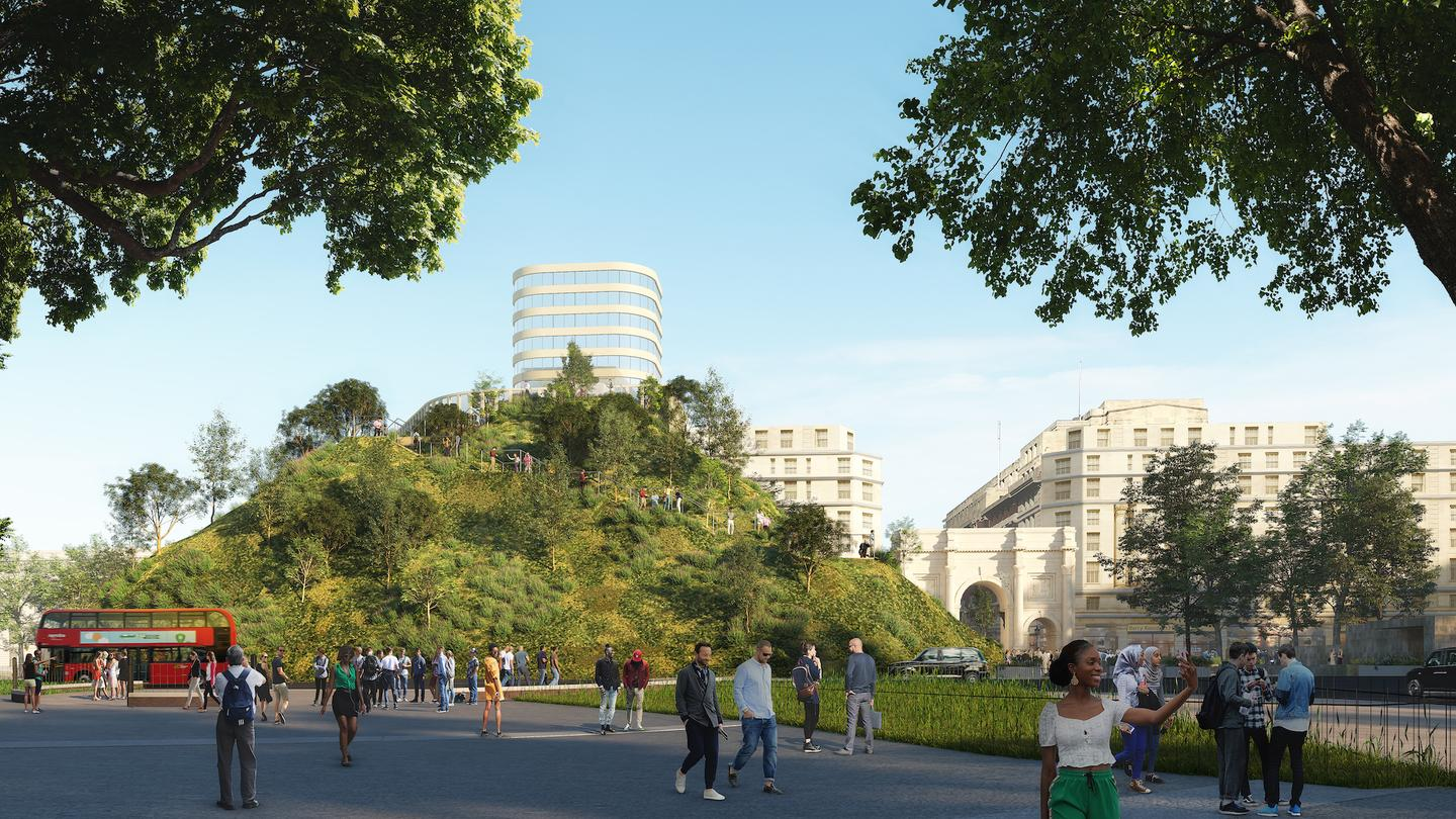 Marble Arch Hill will reach a maximum height of 25 m (82 ft)
