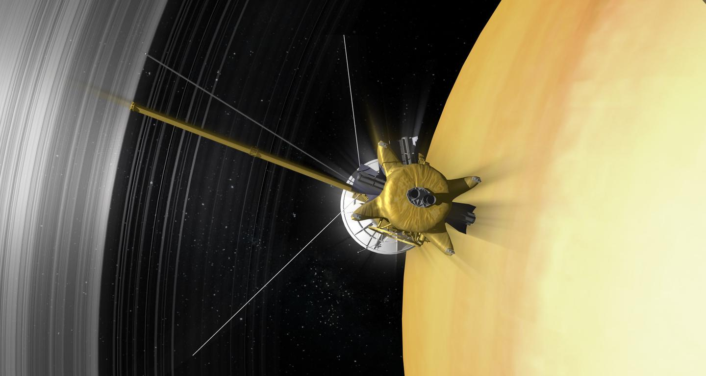 The Cassini orbiter will make a controlled plunge into the Saturnian atmosphere