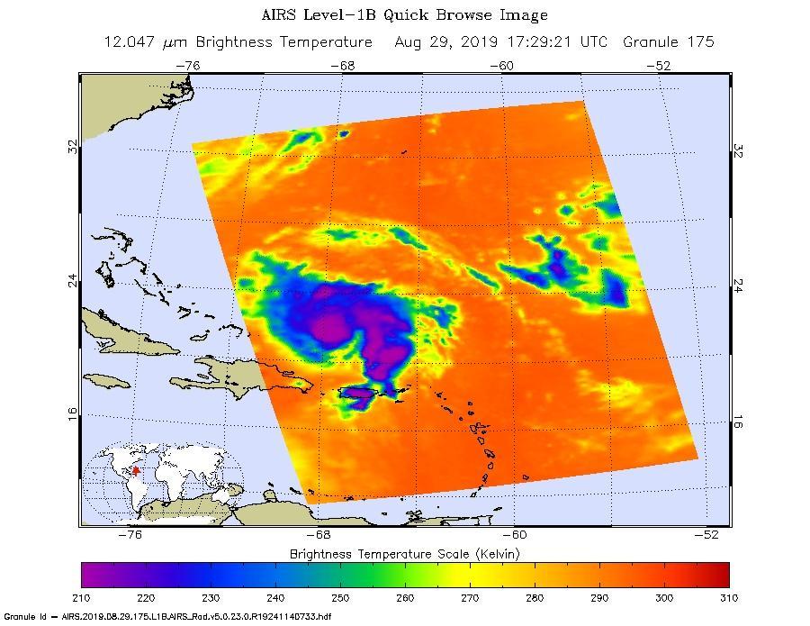 Image of Hurricane Dorian captured by NASA's Aqua satellite on August 29